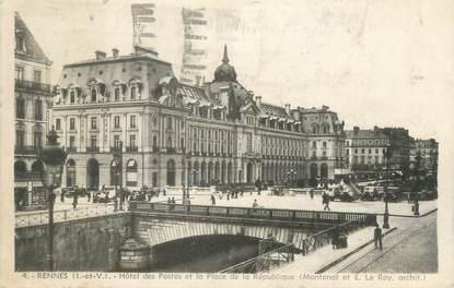 """CPA FRANCE 35 """"Rennes, hôtel des postes et la place de la République"""""""
