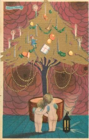 """CPA FANTAISIE / ART DÉCO  """"les anges devant l'arbre de Noël"""""""