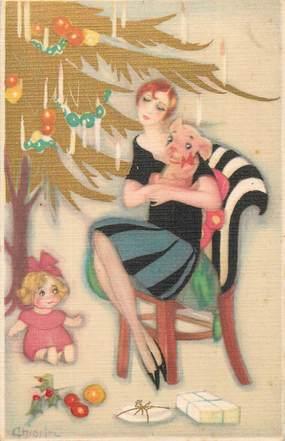 """CPA FANTAISIE / ART DÉCO  """"la femme et la poupée le soir de Noël"""""""