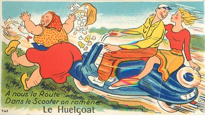 """CPA FRANCE 29 """"Huelgoat"""" CARTE A SYSTEME"""