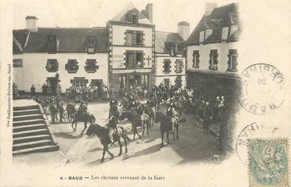 """CPA FRANCE 56 """"Baud, les chevaux revenant de la gare"""""""