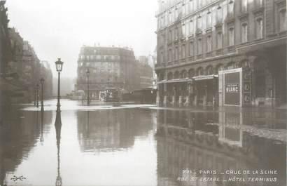 """CPA FRANCE 75 """"Paris Inondation 1910, rue Saint Lazaire, hôtel terminus"""" / Ed. ELECTROPHOT"""