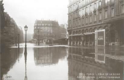 """CPA FRANCE 75 """"Paris Inondation 1910, rue Saint Lazare, hôtel Terminus"""" / Ed. ELECTROPHOT"""