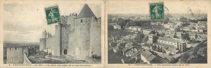 """CPA LIVRET FRANCE 12 """"Carcassonne, la cité et vue générale"""""""