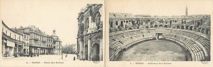 """CPA LIVRET FRANCE 30 """"Nîmes, place des Arènes et intérieur des Arènes"""""""