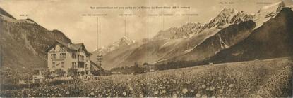 """CPA PANORAMIQUE FRANCE 74 """"Les Houches, vue panoramique sur une partie de la chaine du Mont Blanc, hôtel des Roches"""""""