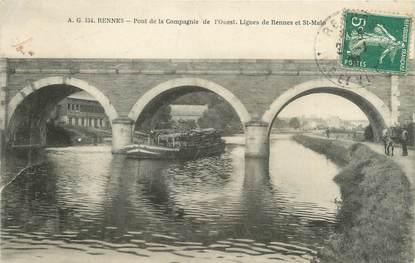 """CPA FRANCE 35 """"Rennes, pont de la compagnie de l'Ouest"""" / PENICHE"""