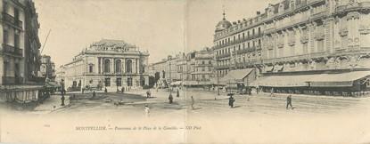 """CPA PANORAMIQUE FRANCE 34 """"Montpellier, panorama de la place de la Comédie"""""""