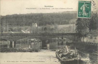 """CPA FRANCE 56 """"Malestroit, le pont neuf, château d'Eureka"""""""