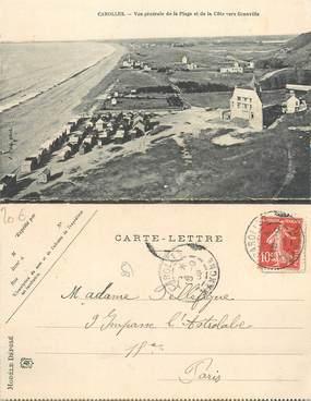 """CPA FRANCE 50 """"Carolles, vue générale de la plage et de la côte vers Granville"""" / CARTE DOUBLE"""