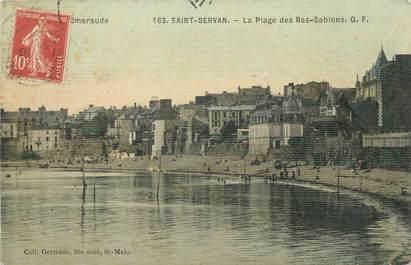 """CPA FRANCE 35 """"Saint Servan, la plage des Bas Sablons"""" / CARTE TOILEE"""
