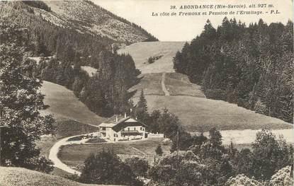 """/ CPA FRANCE 74 """"Abondance, la côte de Fremoux et pension de l'Ermitage"""""""