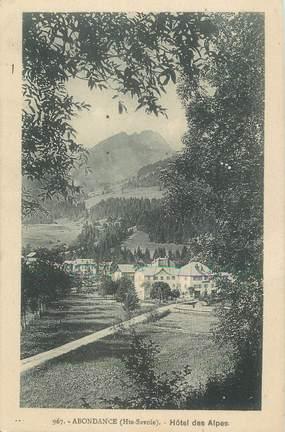 """/ CPA FRANCE 74 """"Abondance, hôtel des Alpes"""" / CARTE PUBLICITAIRE"""
