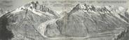 """74 Haute Savoie CPA PANORAMIQUE FRANCE 38 """"Chamonix, le massif du Mont Blanc et la chaine des Aiguilles"""""""