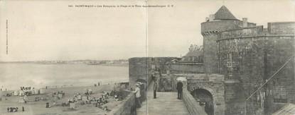 """CPA PANORAMIQUE FRANCE 35 """"Saint Malo, les remparts, la plage et la tour Qui qu'en Grogne"""""""