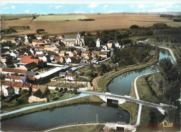 """CPSM FRANCE 60 """"Mareuil sur Ourcq, vue aérienne sur le canal de l'Ourcq"""""""