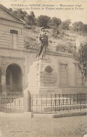 """CPA FRANCE 07 """"Viviers sur Rhone, monument aux morts"""""""