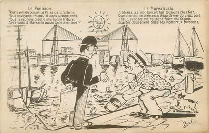 """CPA FRANCE 13 """"Le parisien, le Marseillais"""""""