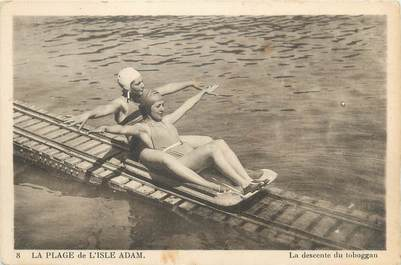"""CPA FRANCE 95 """"Plage de l'Isle Adam, la descente du toboggan"""""""
