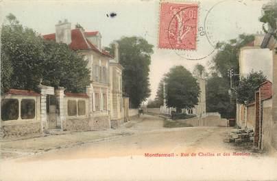 """CPA FRANCE 93 """"Montfermeil, rue de Chelles et des Moulins"""""""