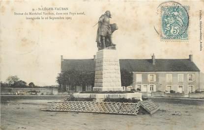 """CPA FRANCE 89 """"Saint Léger Vauban, statue du Maréchal Vauban"""""""