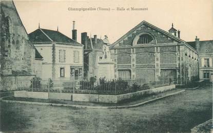 """CPA FRANCE 89 """"Champignelles, Halle et monument"""""""