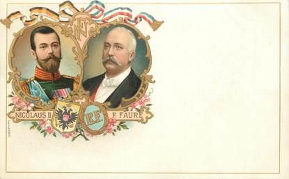 "CPA RUSSIE ""Nicolas II et Faure"""