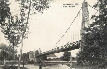 """CPA FRANCE 89 """"Bonnard Bassou, le pont suspendu"""""""