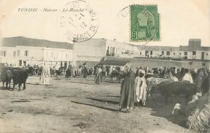 """CPA TUNISIE """"Mateur, le marché"""""""