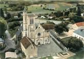 """89 Yonne CPSM FRANCE 89 """"Pourrain, vue aérienne de l'église"""""""