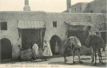 """CPA TUNISIE """"Kairouan, marchands de beignets"""""""