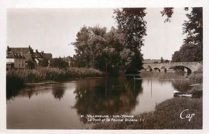 """CPSM FRANCE 89 """"Villeneuve sur Yonne, le pont et la fausse Rivière"""""""