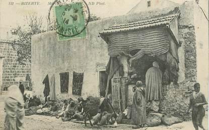 """CPA TUNISIE """"Bizerte, marchand de tapis"""""""