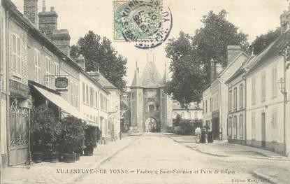 """CPA FRANCE 89 """"Villeneuve sur Yonne, faubourg Saint Savinien et porte de Joigny"""""""