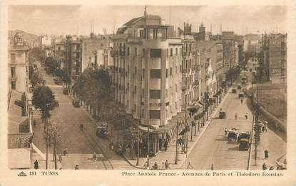 """CPA TUNISIE """"Tunis, Place Anatole France"""""""