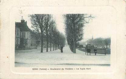 """CPA FRANCE 89 """"Sens, boulevard du théâtre, le tapis vert"""""""