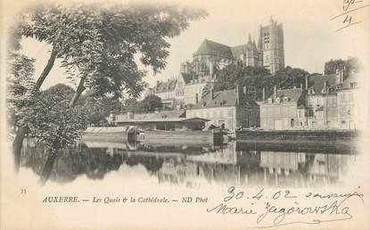 """CPA FRANCE 89 """"Auxerre, les quais et  la cathédrale"""""""