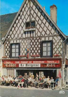 "CPSM FRANCE 18 ""Aubigny sur Nere, bar tabac Le Bergerac"""
