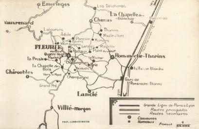 """CPA FRANCE 69 """"Grandes Lignes de Paris à Lyon"""" / CARTE GEOGRAPHIQUE"""