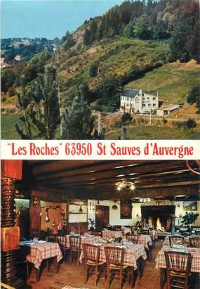 """CPSM FRANCE 63 """"Saint Sauves d'Auvergne, hôtel restaurant Les Roches"""""""