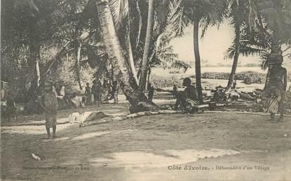 """CPA COTE D'IVOIRE """"débarcadère d'un village"""""""