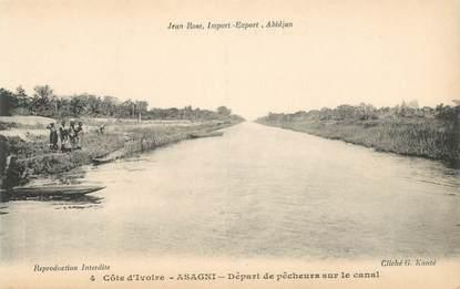 """CPA COTE D'IVOIRE """"Asagni, départ de pêcheurs"""""""