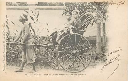 """CPA VIETNAM """"Tonkin, Hanoï, conducteur de pousse pousse"""""""