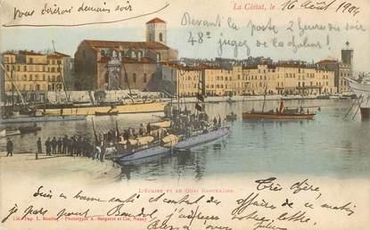 """CPA FRANCE 13 """"La Ciotat, L'Eglise et le quai Ganteaume  """""""