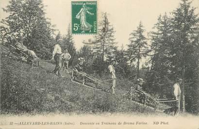 "CPA FRANCE 38 ""Allevard Les Bains, descente en traineau de Brame Farine"""
