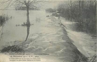 """CPA FRANCE 49 """"Montjean, la loire déborde sur la route du Solde Loire"""" / INONDATION DE 1910"""