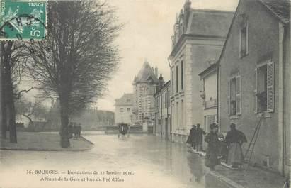 """CPA FRANCE 18 """"Bourges, avenue de la gare et rue du Pré d'Eau"""" / INONDATION 1910"""
