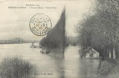 """CPA FRANCE 78 """"Mantes sur Seine, l'Ile aux dames"""" / INONDATION 1910"""
