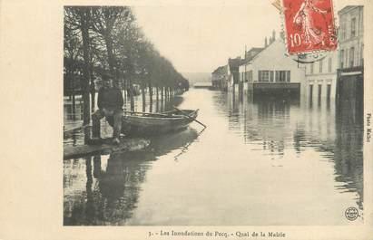 """CPA FRANCE 78 """"Pecq, quai de la mairie"""" / INONDATION 1910"""