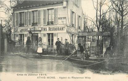"CPA FRANCE 91 ""Athis Mons, aspect du restaurant Waty"" / INONDATION 1910"